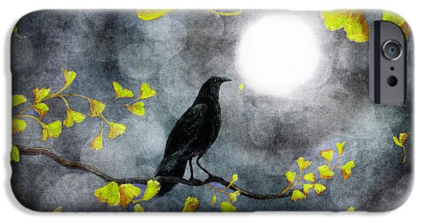 Crows iPhone Cases - Raven in the Rain iPhone Case by Laura Iverson