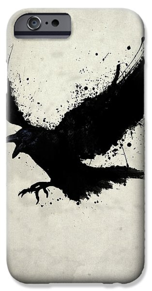 Animal Drawings iPhone Cases - Raven iPhone Case by Nicklas Gustafsson