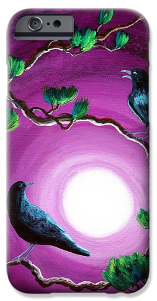 Pines iPhone Cases - Ravens on a Summer Night iPhone Case by Laura Iverson