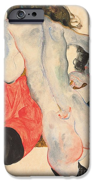 Lesbian Paintings iPhone Cases - Reclining woman in red trousers and standing female nude iPhone Case by Egon Schiele