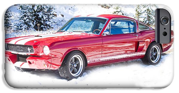 Stock Images iPhone Cases - Red 1966 Ford Mustang Shelby iPhone Case by James BO  Insogna