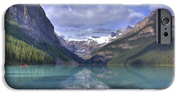 Canoe iPhone Cases - Red Canoe On Lake Louise iPhone Case by Larry Whiting