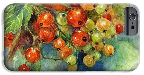 iPhone 6 Case - Red Currants Berries Watercolor by Svetlana Novikova