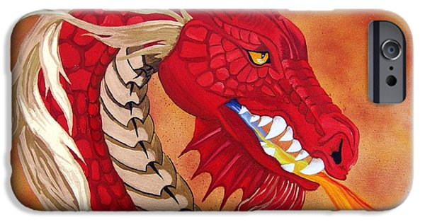 Serpent iPhone Cases - Red Dragon iPhone Case by Debbie LaFrance