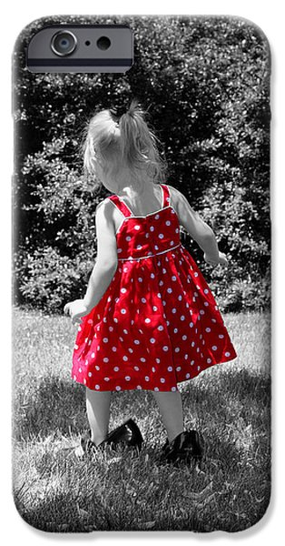 Little Girl iPhone Cases - Red Polka Dot Dress And Mommys Shoes iPhone Case by Tracie Kaska