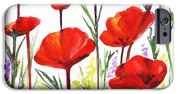 IPhone 6 Case featuring the painting Red Poppies Art By Irina Sztukowski by Irina Sztukowski