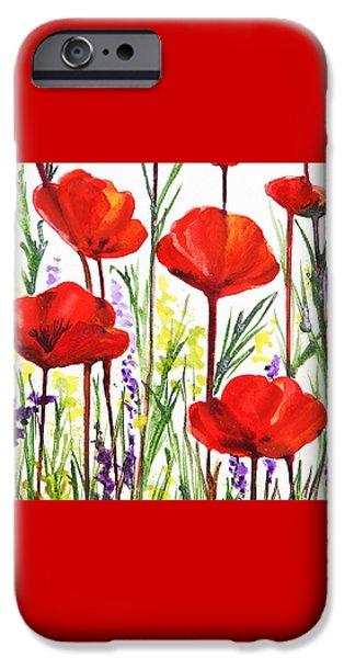 IPhone 6 Case featuring the painting Red Poppies Watercolor By Irina Sztukowski by Irina Sztukowski