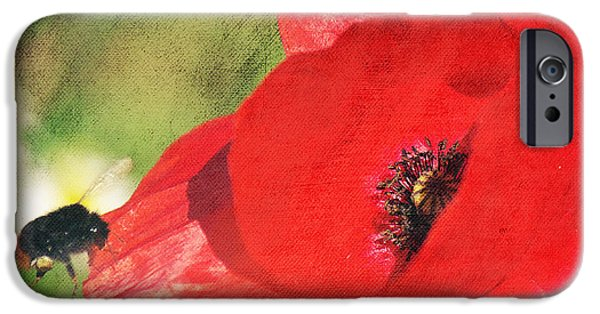 Flora Mixed Media iPhone Cases - Red poppy impression iPhone Case by Angela Doelling AD DESIGN Photo and PhotoArt