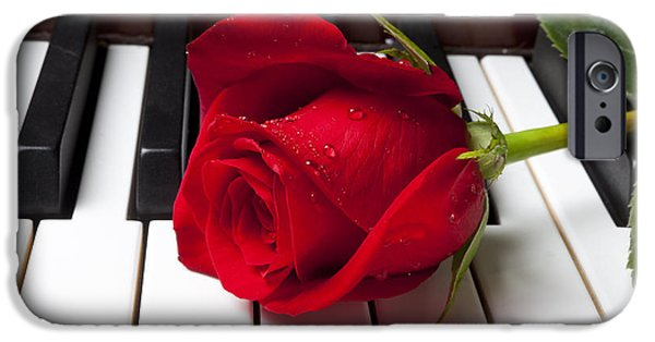 Red iPhone 6 Case - Red Rose On Piano Keys by Garry Gay