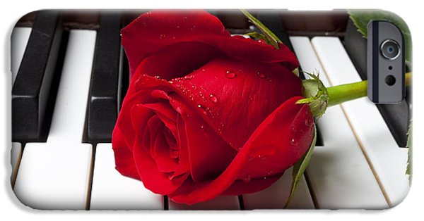 Red Rose iPhone 6 Case - Red Rose On Piano Keys by Garry Gay