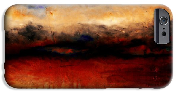 Waterscape Paintings iPhone Cases - Red Skies at Night iPhone Case by Michelle Calkins