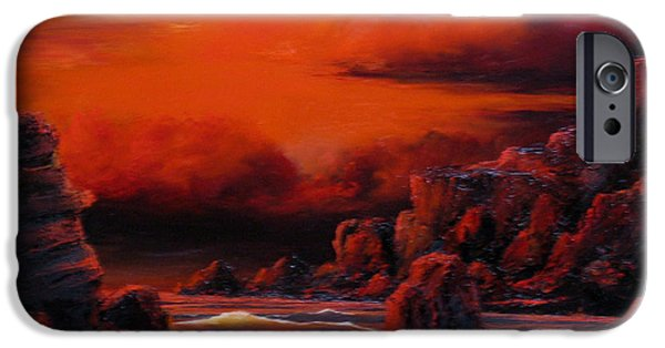 Sunset Reliefs iPhone Cases - Red Sunset iPhone Case by John Cocoris