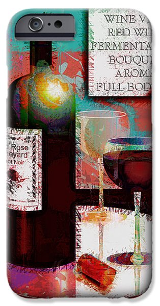 Wine Bottles iPhone Cases - Red Wine For Two iPhone Case by Arline Wagner