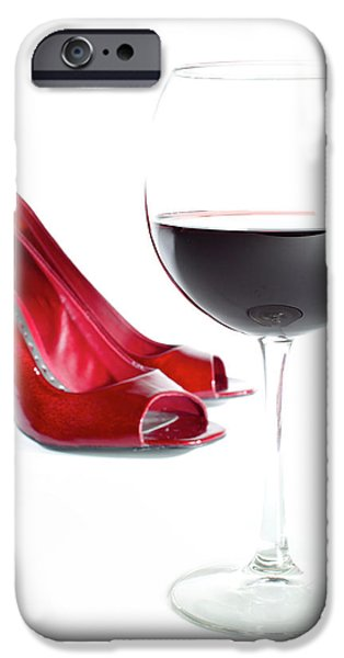 High Heeled iPhone Cases - Red Wine Glass Red Shoes iPhone Case by Dustin K Ryan