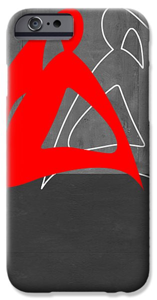 Abstract Forms iPhone Cases - Red Woman iPhone Case by Naxart Studio