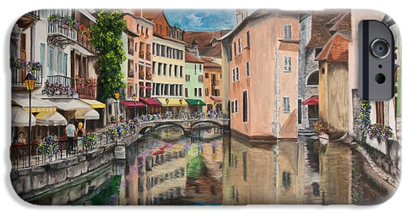 Village iPhone Cases - Reflections Of Annecy iPhone Case by Charlotte Blanchard
