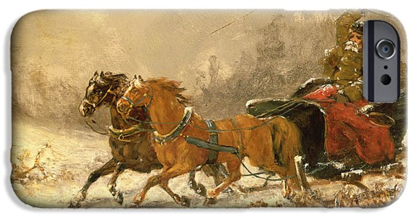 Rural iPhone Cases - Returning Home in Winter iPhone Case by Charles Ferdinand De La Roche
