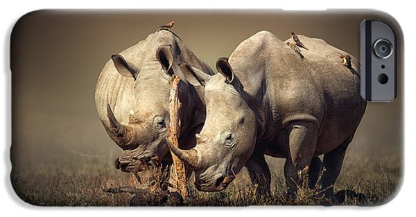 Sepia iPhone 6 Case - Rhino's With Birds by Johan Swanepoel