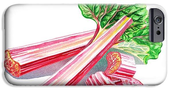 IPhone 6 Case featuring the painting Rhubarb Stalks by Irina Sztukowski
