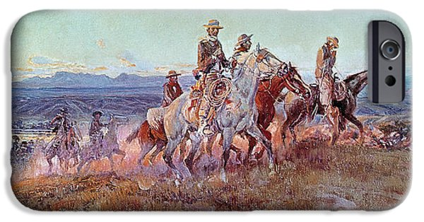 Hill iPhone Cases - Riders of the Open Range iPhone Case by Charles Marion Russell