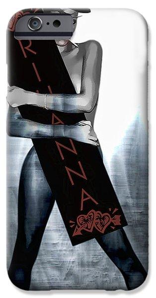Rihanna iPhone Cases - Rihanna Love Card by GBS iPhone Case by Anibal Diaz