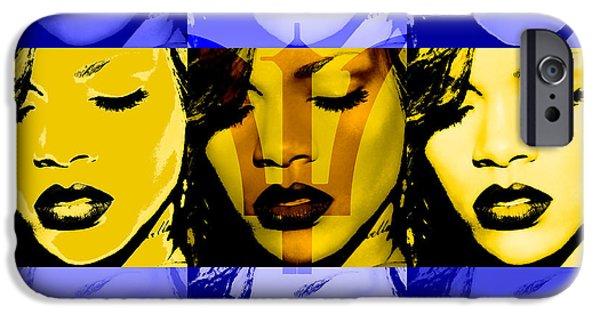 Rihanna iPhone Cases - Rihanna Warhol Barbados by GBS iPhone Case by Anibal Diaz