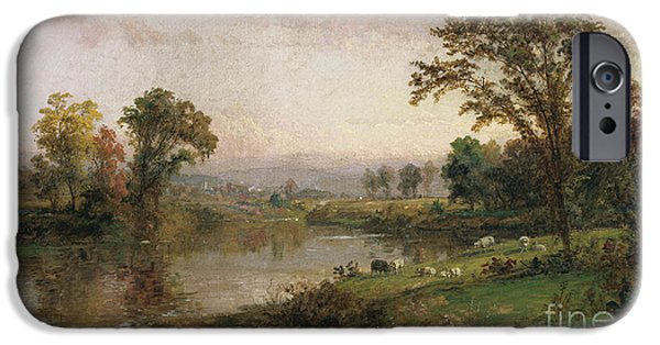 Hudson River iPhone Cases - Riverscape in Early Autumn iPhone Case by Jasper Francis Cropsey