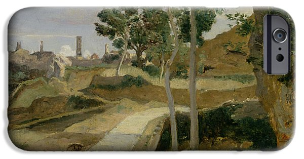 Tuscan Road iPhone Cases - Road from Volterra iPhone Case by Jean Baptiste Camille Corot