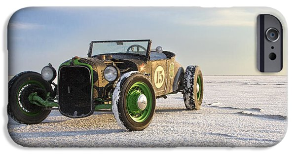 Vintage Images iPhone Cases - Roadster on the Salt Flats 2012 iPhone Case by Holly Martin