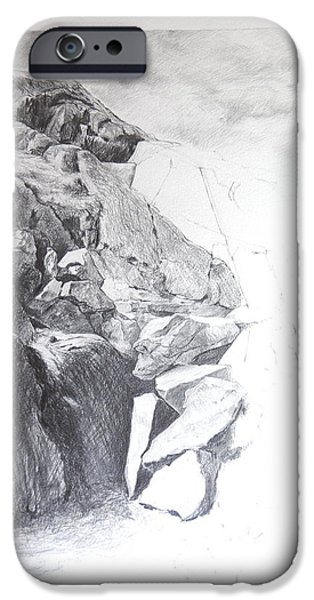 Flora Drawings iPhone Cases - Rocky outcrop in Snowdonia. iPhone Case by Harry Robertson