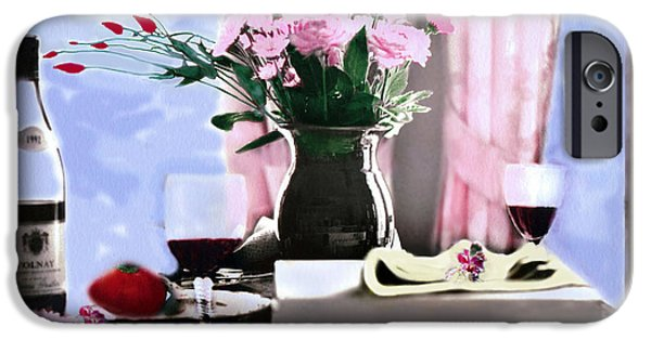 Table Wine Digital iPhone Cases - Romance In The Afternoon 2 iPhone Case by Madeline Ellis