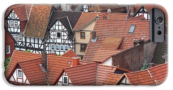 Deutschland iPhone Cases - Roofs of Bad Sooden-Allendorf iPhone Case by Heiko Koehrer-Wagner