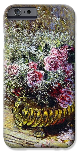 Rose Petals iPhone Cases - Roses in a Copper Vase iPhone Case by Claude Monet