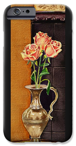 Old Masters iPhone Cases - Roses In The Metal Vase iPhone Case by Irina Sztukowski