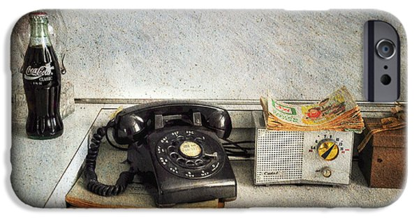 Interior Scene iPhone Cases - Rotary Dial Phone in Black S and H Stamps iPhone Case by Paul Ward