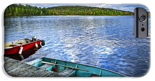 Paddle iPhone Cases - Rowboats on lake at dusk iPhone Case by Elena Elisseeva
