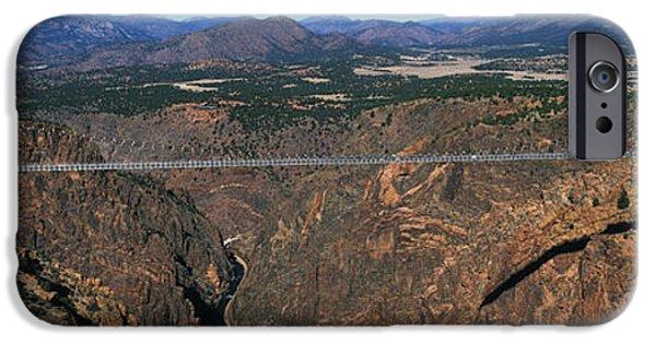 Arkansas iPhone Cases - Royal Gorge Bridge Arkansas River Co iPhone Case by Panoramic Images
