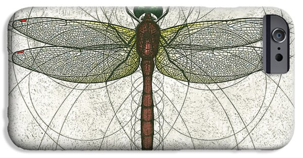 Nature Study iPhone Cases - Ruby Meadowhawk Dragonfly iPhone Case by Charles Harden