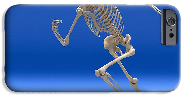 Cut-outs iPhone Cases - Running Skeleton, Artwork iPhone Case by Roger Harris