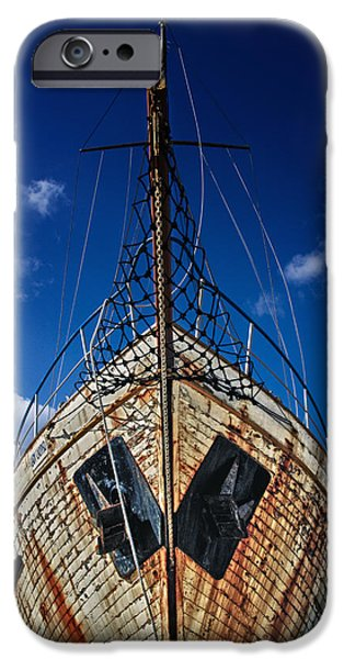 Abandoned iPhone Cases - Rusting boat iPhone Case by Stylianos Kleanthous