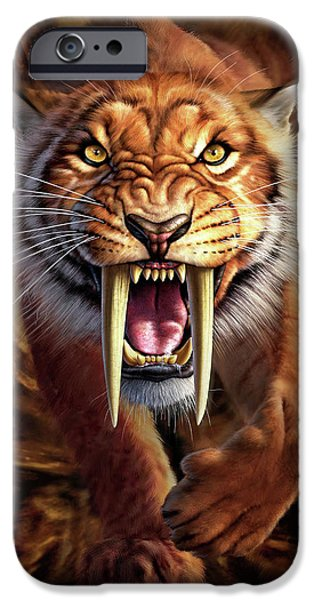 Cave Digital iPhone Cases - Sabertooth iPhone Case by Jerry LoFaro