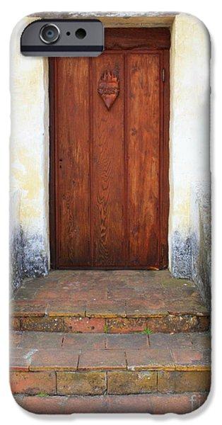 Wooden Door iPhone Cases - Sacred Heart Door iPhone Case by Carol Groenen