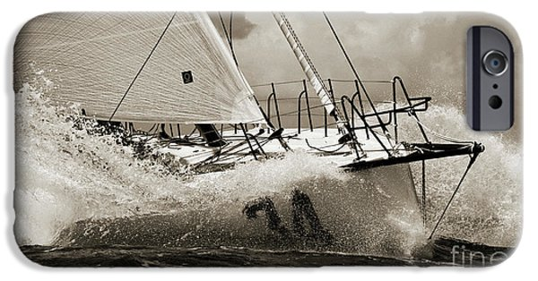 Yachts iPhone Cases - Sailboat Le Pingouin Open 60 Sepia iPhone Case by Dustin K Ryan