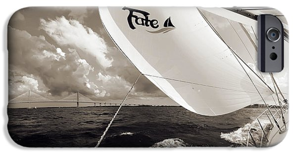 Sailing Yacht iPhone Cases - Sailboat Spinnaker Fate Beneteau 49 Charleston SC  iPhone Case by Dustin K Ryan