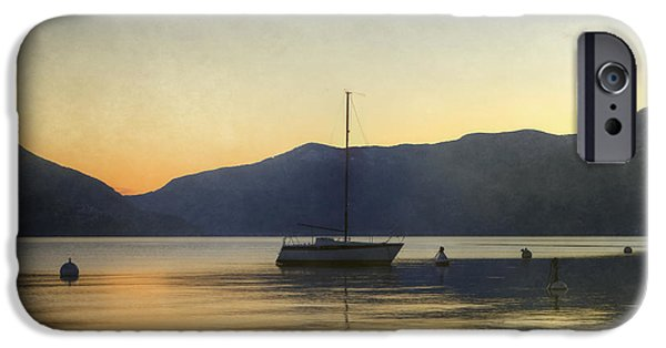 Sailing iPhone Cases - Sailing Boat In The Sunset iPhone Case by Joana Kruse