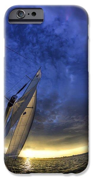 Sailboat iPhone Cases - Sailing Sunset Beneteau 49 Yacht iPhone Case by Dustin K Ryan
