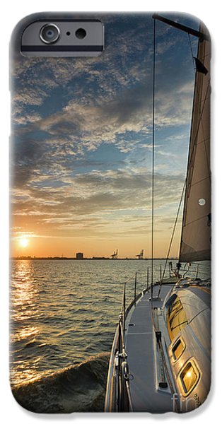 Cruise iPhone Cases - Sailing Sunset on the Charleston Harbor Beneteau 49 iPhone Case by Dustin K Ryan