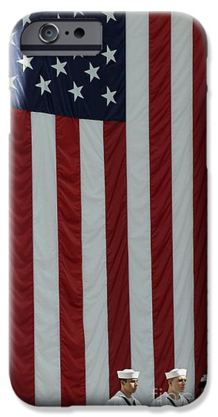 Well Dressed iPhone Cases - Sailors Stand In Front Of The American iPhone Case by Stocktrek Images