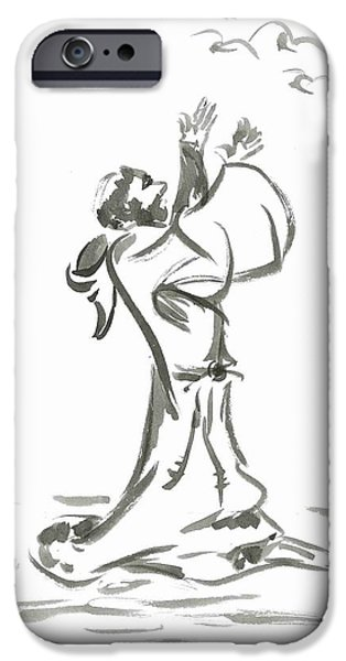 Religious Drawings iPhone Cases - Saint Francis Preaches to the Birds iPhone Case by Jason Honeycutt