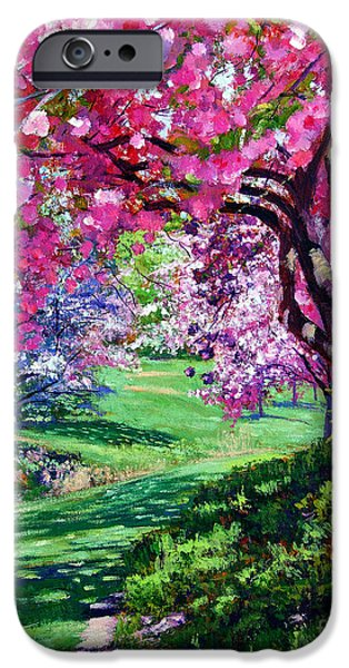 Pathways Paintings iPhone Cases - Sakura Romance iPhone Case by David Lloyd Glover